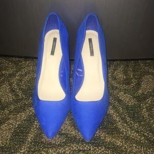 Royal Blue Point Toe Heels NWOT